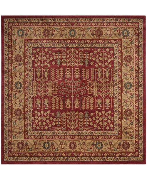 """Safavieh Mahal Red and Natural 6'7"""" x 6'7"""" Square Area Rug"""