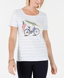 Karen Scott Petite Striped Embellished-Graphic Top, Created for Macy's