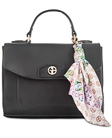 Giani Bernini Leather Crossbody Satchel with Scarf, Created for Macy's