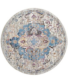 Safavieh Bristol Blue and Light Gray 7' x 7' Round Area Rug