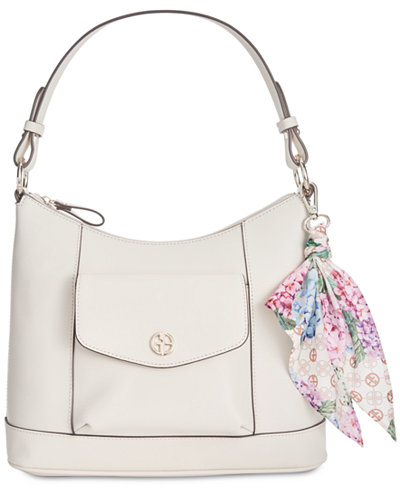 Giani Bernini Leather Hobo with Scarf, Created for Macy's