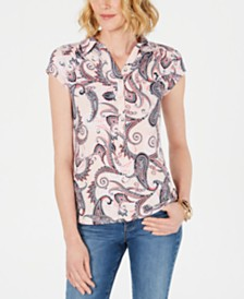 Charter Club Paisley-Print Cap-Sleeve Polo, Created for Macy's