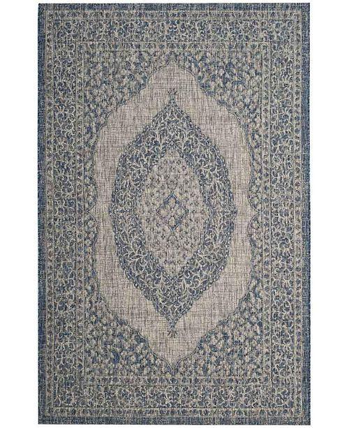 "Safavieh Courtyard Light Grey and Blue 2'3"" x 8' Sisal Weave Runner Area Rug"