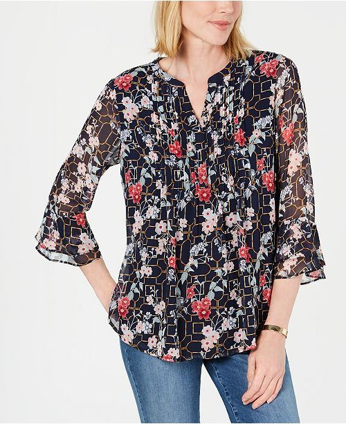 Charter Club Floral Pintuck Top, Created for Macy's