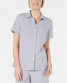 Petite Cotton Striped Seersucker Shirt, Created for Macy's