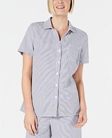 Karen Scott Cotton Short-Sleeve Seersucker Shirt, Created for Macy's
