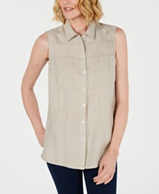 Charter Club Sleeveless Button-Front Textured Linen Top, Created for Macy's