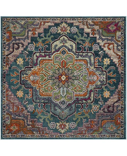 Safavieh Crystal Teal and Rose 5' x 5' Square Area Rug