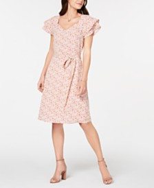 Monteau Petite Flutter-Sleeve Tie-Waist Dress