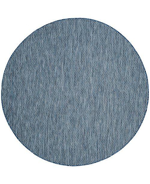 "Safavieh Courtyard Navy and Gray 5'3"" x 5'3"" Sisal Weave Round Area Rug"