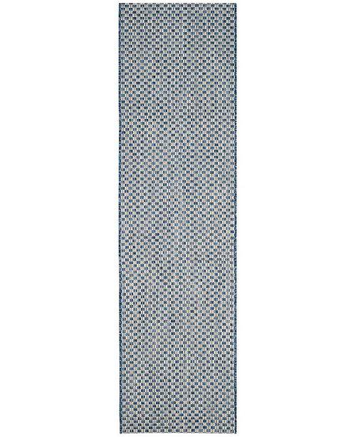 "Safavieh Courtyard Blue and Light Grey 2'3"" x 14' Sisal Weave Runner Area Rug"