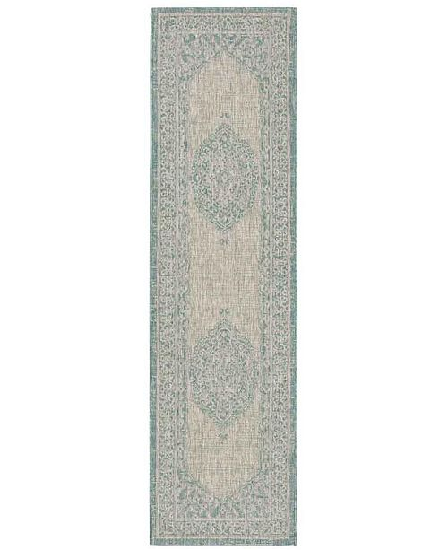 "Safavieh Courtyard Light Grey and Aqua 2'3"" x 12' Sisal Weave Runner Area Rug"