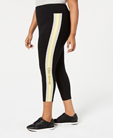 Calvin Klein Performance Plus Size Logo-Stripe Ankle Leggings