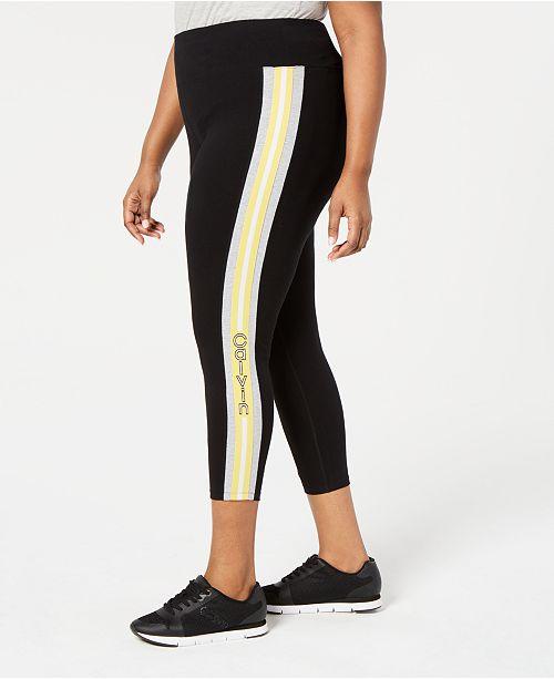 6ee56d3aa9ae22 Calvin Klein Plus Size Logo-Stripe Ankle Leggings & Reviews - Pants ...