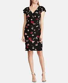 Lauren Ralph Lauren Floral Ruched Jersey Dress