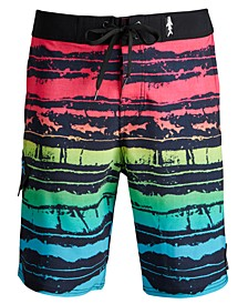 Men's OMG Stretch Colorblocked Stripe Board Shorts