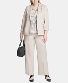 Calvin Klein Plus Size Open-Front Jacket, Printed Top & Wide-Leg Pants