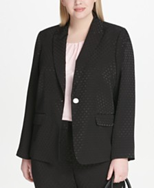 6f95e8d8151d9 Calvin Klein Plus Size Polka Dot-Embossed Jacket