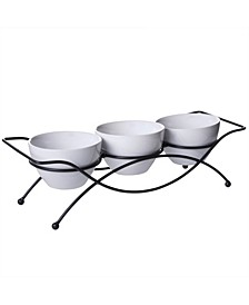 4 Piece Serving Set with Metal Rack