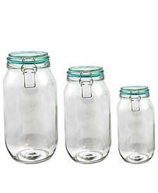Preserving-Storage Jar Set with Wire Bail and Trigger Closure, Set of 3