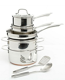 Oster Cuisine Kellerton 10 Piece Cookware Set with Copper Accents