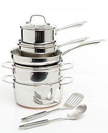 Oster Cuisine Kellerton 10 Piece Cookware Set with Copper Accents