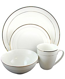 Home Palladine 16 Piece Dinnerware Double Gold Banded Set