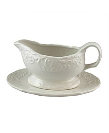 18 Ounce Embossed Durastone Gravy Boat with Saucer