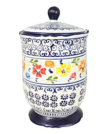 2.72 Qt Canister with Lid Hand Painted Stoneware
