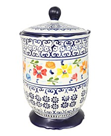 Luxembourg 2.72 Qt Canister with Lid Hand Painted Stoneware