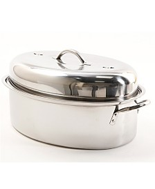 """Cuisine Select Top Roast 16"""" Oval Roaster with Lid and Roasting Rack"""