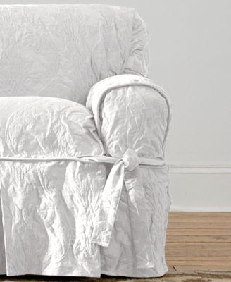 Matelasse Damask 1-Piece Chair Slipcover