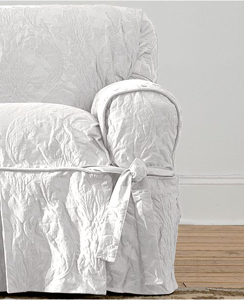Sure Fit Matelasse Damask 1-Piece Chair Slipcover