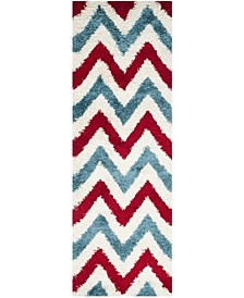 "Shag Kids Ivory and Red 2'3"" x 7' Runner Area Rug"