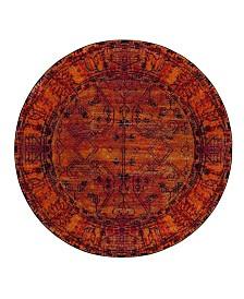 "Safavieh Vintage Hamadan Orange 6'7"" x 6'7"" Round Area Rug"