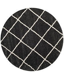 Hudson Dark Gray and Ivory 7' x 7' Round Area Rug