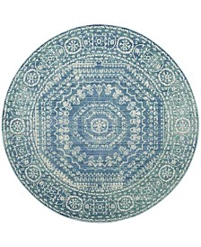 "Safavieh Valencia Blue and Multi 6'7"" x 6'7"" Round Area Rug"
