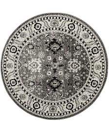 "Vintage Hamadan Gray and Black 6'7"" x 6'7"" Round Area Rug"