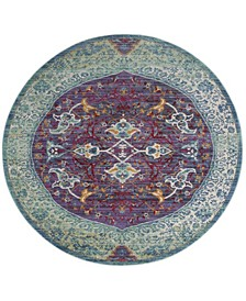 Sutton Purple and Turquoise 6' x 6' Round Area Rug