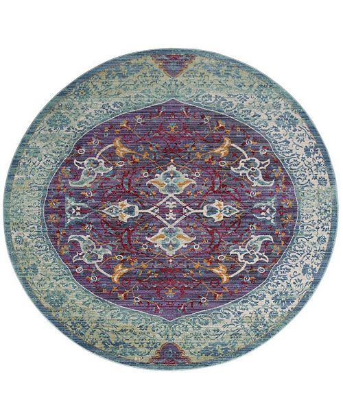 Safavieh Sutton Purple and Turquoise 6' x 6' Round Area Rug