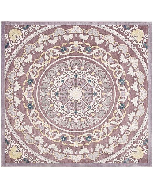 """Safavieh Paradise Purple and Cream 6'7"""" x 6'7"""" Square Area Rug"""