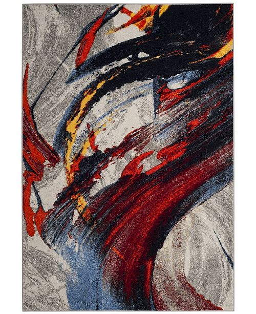 """Safavieh Porcello Light Gray and Red 5'1"""" x 7'6"""" Area Rug"""
