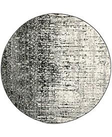 Retro Black and Light Gray 6' x 6' Round Area Rug