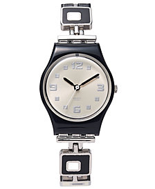 Swatch Watch, Women's Swiss Chessboard Black and White Enamel and Stainless Steel Bracelet 25mm LB160G