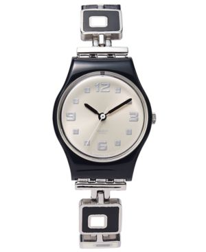 SWATCH Watch, Women'S Swiss Chessboard Black And White Enamel And Stainless Steel Bracelet 25Mm Lb160G in Silver
