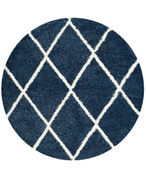 "Safavieh Montreal Blue and Ivory 6'7"" x 6'7"" Round Area Rug"