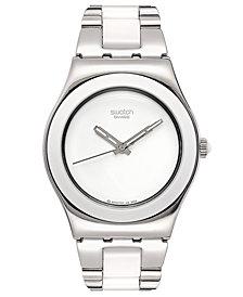 Swatch Watch, Women's Swiss Tresor Blanc and Stainless Steel Bracelet 33mm YLS141G