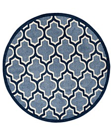 Amherst Light Blue and Navy 7' x 7' Round Area Rug