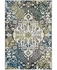 "Watercolor Ivory and Peacock Blue 5'3"" x 7'6"" Area Rug"