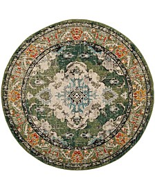 "Monaco Forest Green and Light Blue 6'7"" x 6'7"" Round Area Rug"